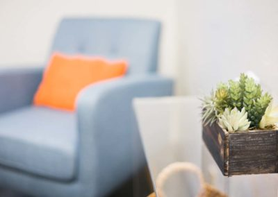 Image of a chair and desk with the focus on a small succulent on the table